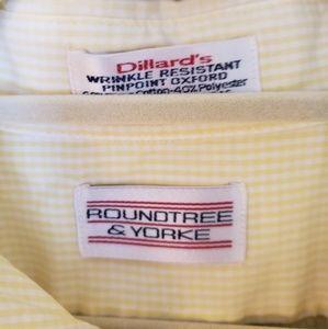 Roundtree & Yorke Shirts - Yellow Checked Mens Short Sleeve Shirt Sz 17 1/2
